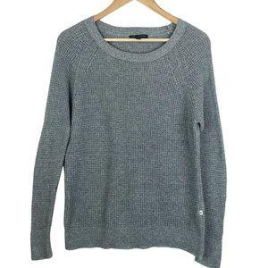 American Eagle Waffle Knit Crewneck Grey Sweater